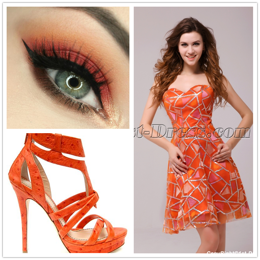 orange short prom dress