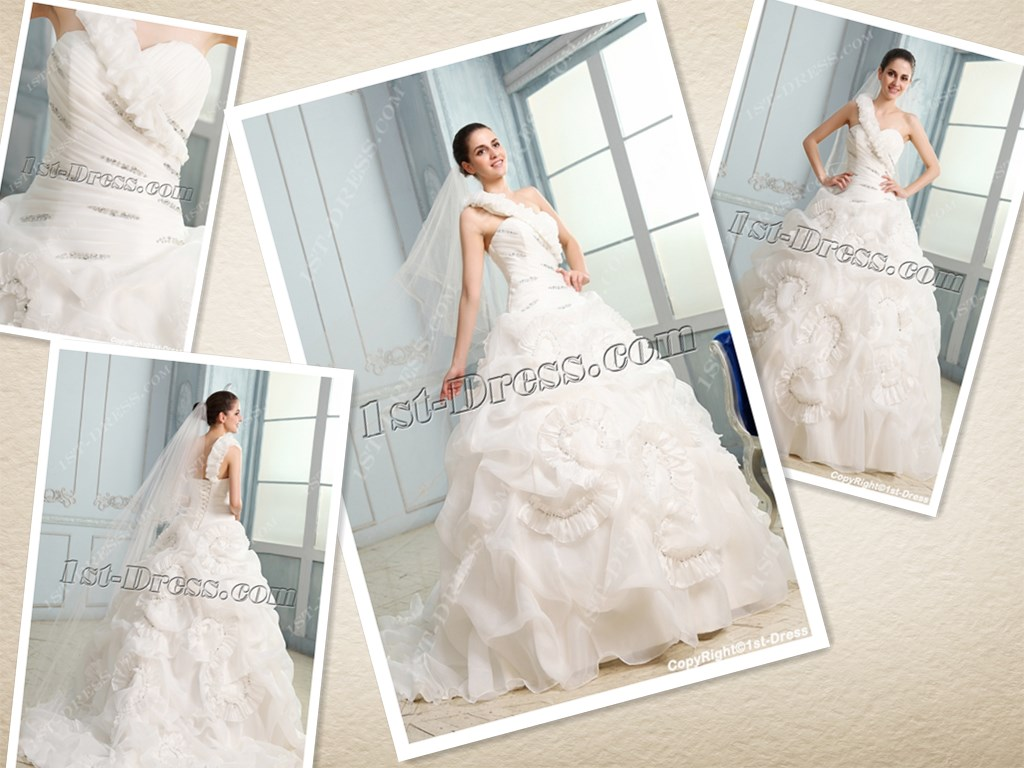 One Shoulder Ruched Ball Gown