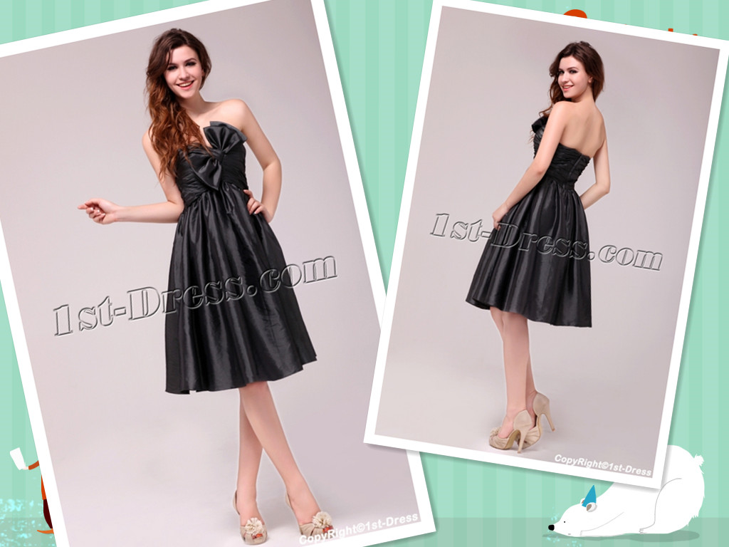 black tea length prom dress