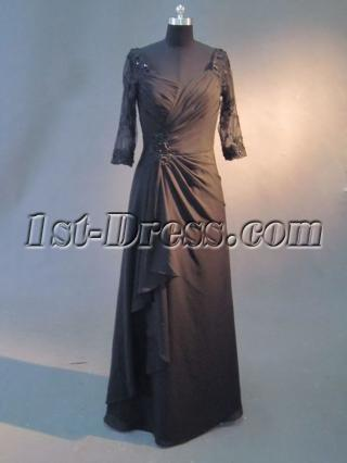 Black 1/2 Lace Long Sleeves Mother of Bride Dress IMG_2645