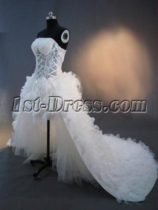 2012 Mini Detachable Illusion Beach Wedding Dress IMG_2429