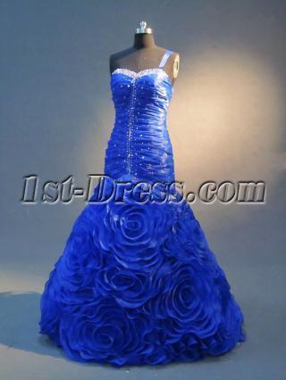 2013 Royal Blue Floral Mermaid Prom Dresses IMG_2356