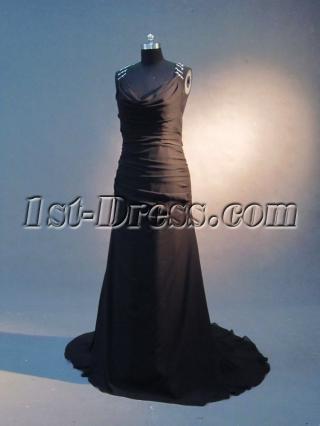 Beaded T-back Black Plus Size Prom Dress IMG_2335