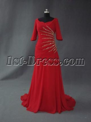 Burgundy 1/2 Sleevs Beaded Inexpensive Mother of Bride Dress IMG_2599