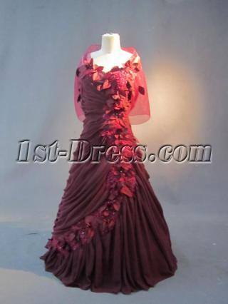 Burgundy Plus Size Evening Dresses with Shawl IMG_2792