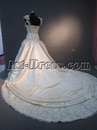 Champagne Floral Wedding Dress with Cap Sleeves IMG_2204