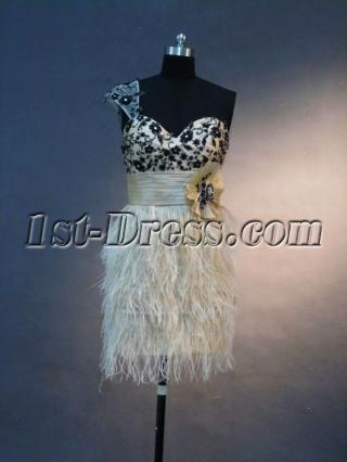 Champagne and Black Short Celebrity Dress with Ostrich Feather IMG_2710