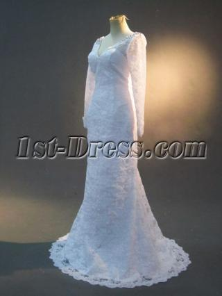 Cheap V-neckline Lace Long Sleeves Vintage Bridal Gown IMG_2478