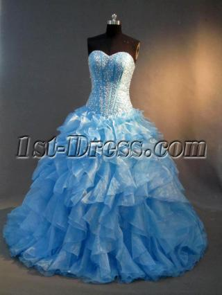 Drop Waist Best Turquoise Puffy Quinceanera Gown Dress IMG_2844