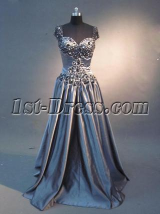 Gray Silver Cap Sleeve Inexpensive Mother of Bride Dress IMG_2732