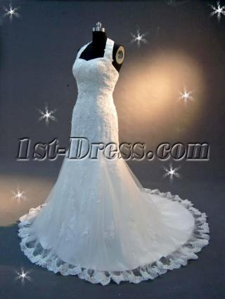 Halter Lace Wedding Dress with Train IMG_2073