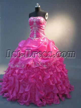 Hot Pink Ruffled Quinceaneara Dress IMG_2327