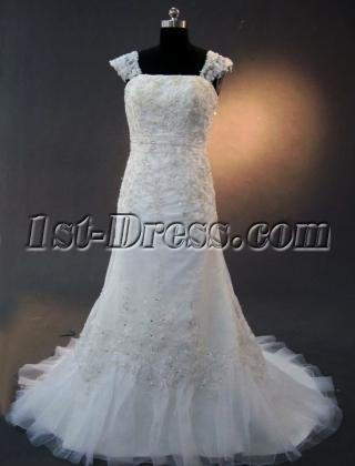 Modest Lace Wedding Dresses with cap sleeves IMG_2264