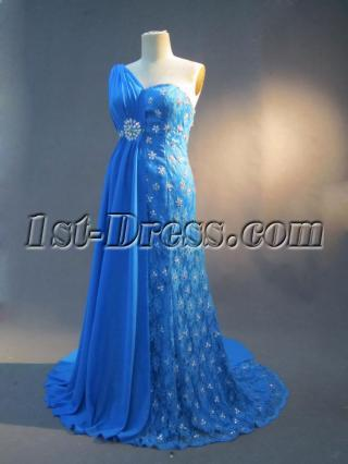 One Shoulder Plus Size Evening Dresses Blue IMG_2765
