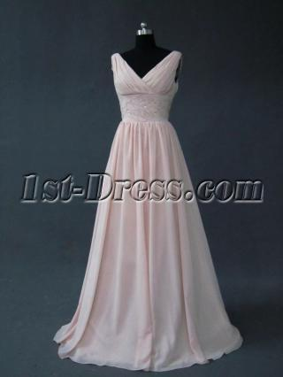 Pink 2012 Modest V-Neckline Bridesmaid Dress IMG_2735