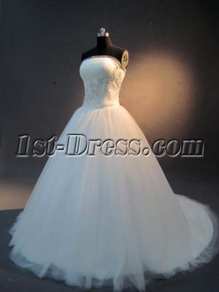 Strapless Beautiful A-line Princess Wedding Dress IMG_2305