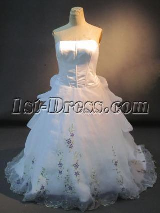 Strapless Plus Size Bridal Gown with Floral Embroidery IMG_2677