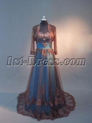 Teal and Brown Long Sleeves Plus Size Mother of Bride Gown IMG_2655