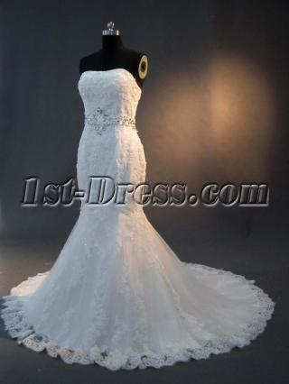 Trumpet Lace Bridal Gown with Jeweled Sash IMG_2816