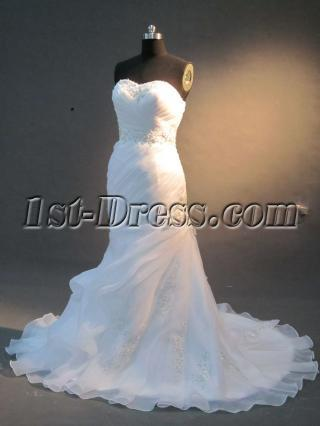 White Sweetheart Column Mermaid Bridal Gown IMG_2248