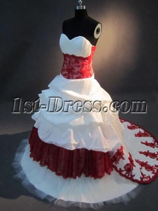 White and Red Cheap Bridal Gown IMG_2701