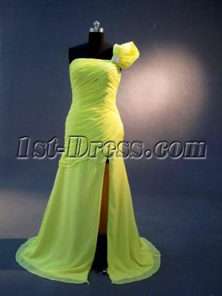Yellow One Shoulder High Slit Prom Dress IMG_2269