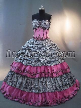 Zebra and Hot Pink Quince Gown Dress IMG_2426