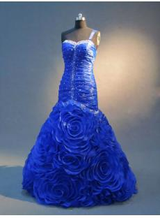 2013 Royal Blue Floral Mermaid Prom Dresses IMG_2356