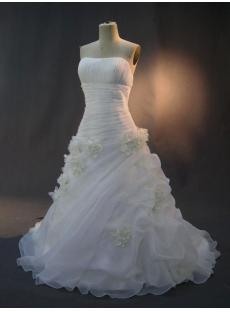 Cheap Floral Strapless Bridal Gown IMG_2875