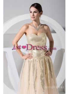 Gold Sequins Cheap Ball Gown Dress WD1-020