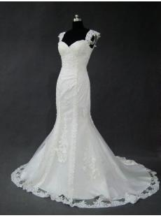 Classic Lace Wedding Dresses Mermaid with Cap Sleeves IMG_2739