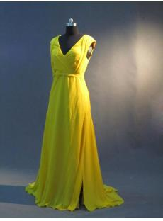 Daffodil Yellow Plus Size V-neckline Prom Dresss IMG_2880:1st-dress.com