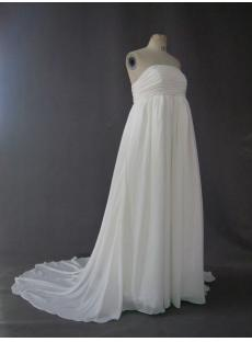 Empire Chiffon Maternity Bridal Gowns Cheap with Train IMG_2709
