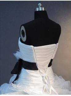 Floor Length White and Black Puffy Ball Gown Wedding Dress IMG_2538