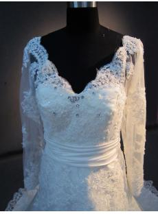 Fully Lace Wedding Dress Long Sleeves with V-neckline IMG_2680