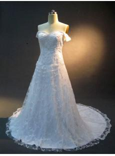 Off Shoulder Satin Embroidery Wedding Dress IMG_2289