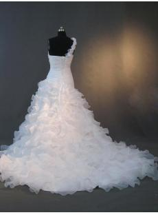 One Shoulder Elegant Organza Bridal Gowns with Corset IMG_2848