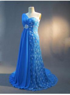 One Shoulder Plus Size Evening Dresses Blue IMG_2765