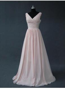 Pink 2012 Modest V-Neckline Bridesmaid Dress IMG_2735