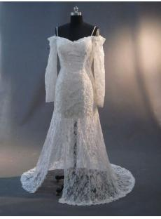 Split Front Lace Short Bridal Gown with Long Sleeves IMG_2431