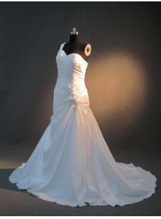 Taffeta One Shoulder Floral Mermaid Bridal Gown IMG_2724