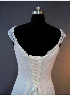 Trumpet Lace Wedding Dress Cap Sleeves with Train IMG_2812