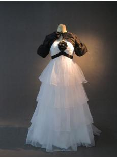 White Cheap Pregnancy Bridal Gown with Black Short Jacket IMG_2658