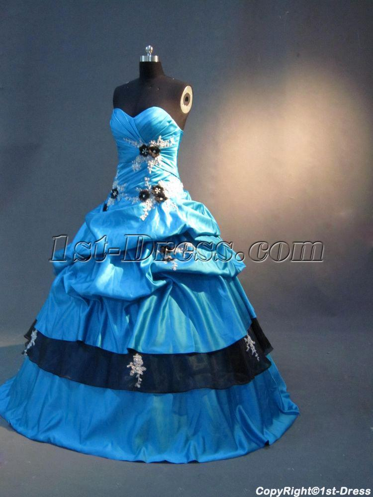 15a7e59cbea1 Blue and Black Cute Sweet 16 Gown IMG 2802 1st-dress.com