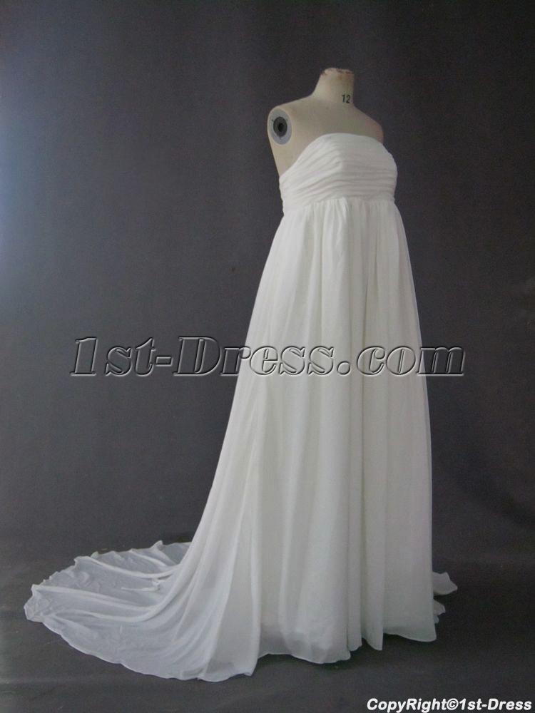 Empire chiffon maternity bridal gowns cheap with train img for Inexpensive maternity wedding dresses