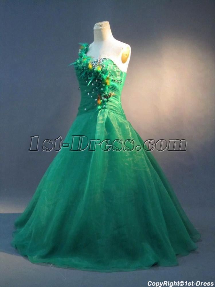 Green Feather Plus Size Quinceanera Dresses IMG_2910 $204.00