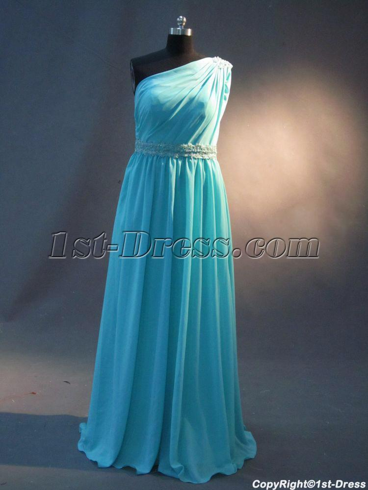 Teal One Shoulder Plus Size Prom Dress Img23821st Dress