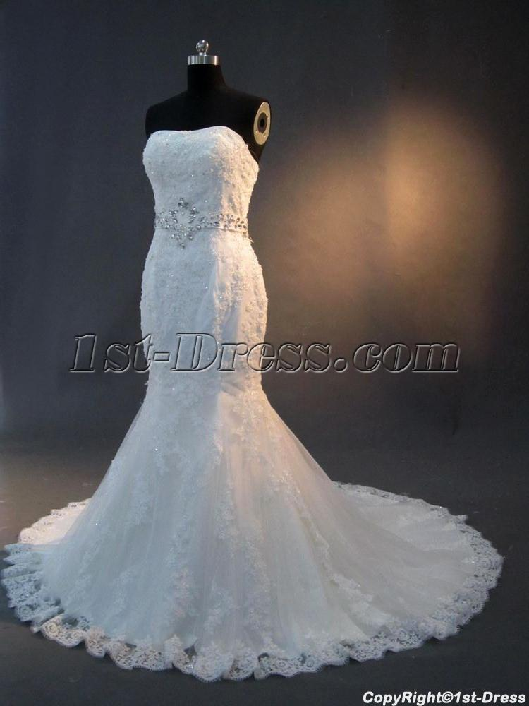Trumpet lace bridal gown with jeweled sash img 2816 1st for Trumpet wedding dresses with lace