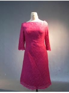 3/4 Sleeves Hot Pink Lace Knee Length Mother of Bride Dress IMG_3908