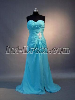 2011 Aqua Blue Sweetheart Long Prom Dress IMG_3704